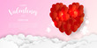 Valentine's day, banner template. red heart with lettering on background. tags poster design Vector brochure.