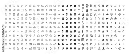 Obraz 330 Icon outline and black solid bundle collection. vector design - fototapety do salonu