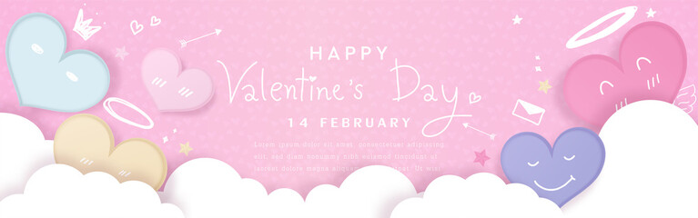 Valentines' day background. Cute pastel hearts decorated with clouds and elements for love, drawing style on pink background. Vector illustration.