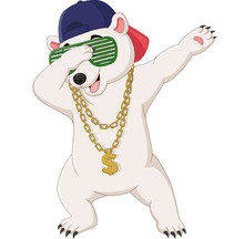 Cute Polar Bear Dabbing Dance Wearing Sunglasses, Hat, And Gold Necklace