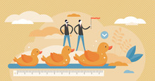 Get Ducks In Row Visualization Vector Illustration In Tiny Persons Concept.