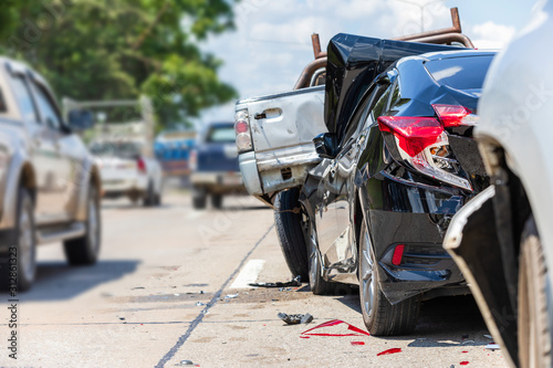 Modern car accident involving many cars on the road in Thailand Canvas Print