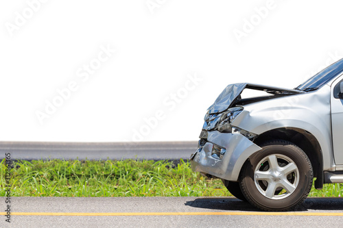 Front of black car get damaged by accident on the road Wallpaper Mural