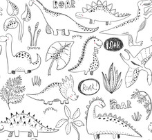 Vector Seamless Pattern With Hand Drawn Dinosaurs And Tropical Leaves And Flowers.