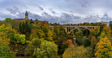 The Adolphe Bridge And BCEE Or Luxemburgish Spuerkeess Clock Tower In The UNESCO World Heritage Site Of Luxembourg