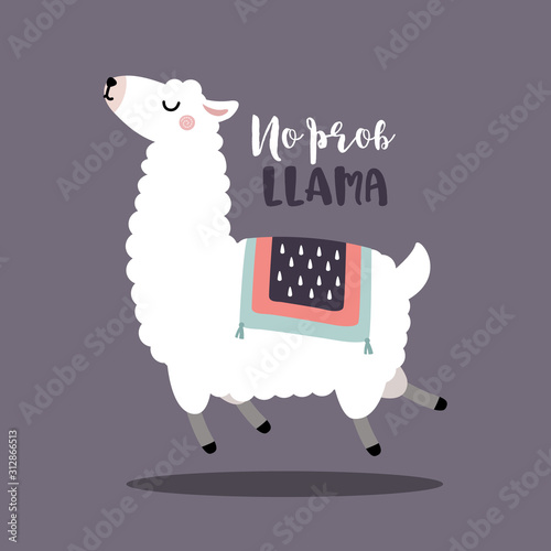Fotografie, Tablou Jumping alpaca or llama with no prob llama motivational quote, Flat vector illus