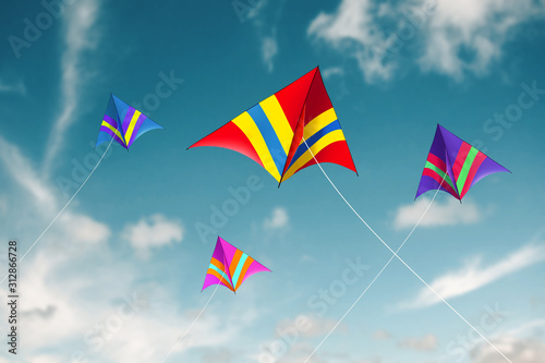 Kites flying with sky background - Image Canvas Print
