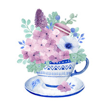 Watercolor Floral Illustration, Beautiful Purple Floral Bouquet And Sweet Macaroon In A Cup, Lovely Hydrangea, Lilac, Anemone Eucalyptus And Dusty Miller Leaves