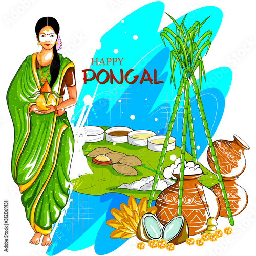 Fotografie, Obraz  easy to edit vector illustration of Happy Pongal festival of Tamil Nadu India ba