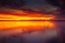 Colorful Sunset And Swing Set ...