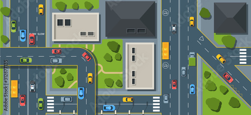 Obraz City traffic top view flat vector illustration - fototapety do salonu