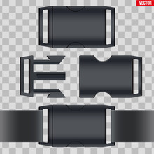 Set Of Fastex Semi-automatic Clip. Fastener Plastic Buckle. Equipment Accessory For Backpack And Bag. Vector Illustration Isolated On Transparent Background.