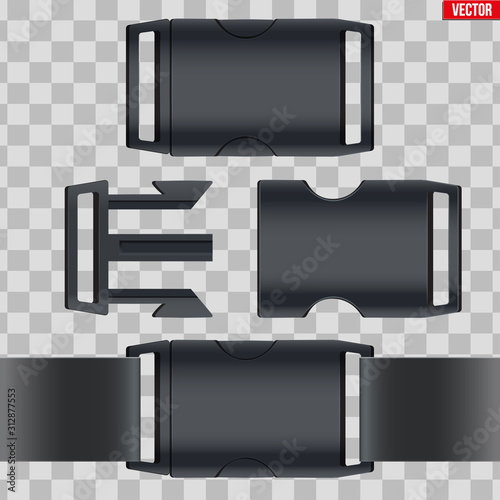Obraz Set of fastex semi-automatic clip. Fastener plastic buckle. Equipment accessory for backpack and bag. Vector Illustration isolated on transparent background. - fototapety do salonu