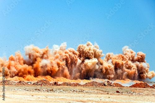 Detonator blasting on the construction site Canvas-taulu