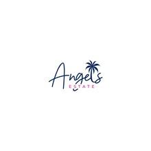 Angels Estate Beach House Logo Design Vector
