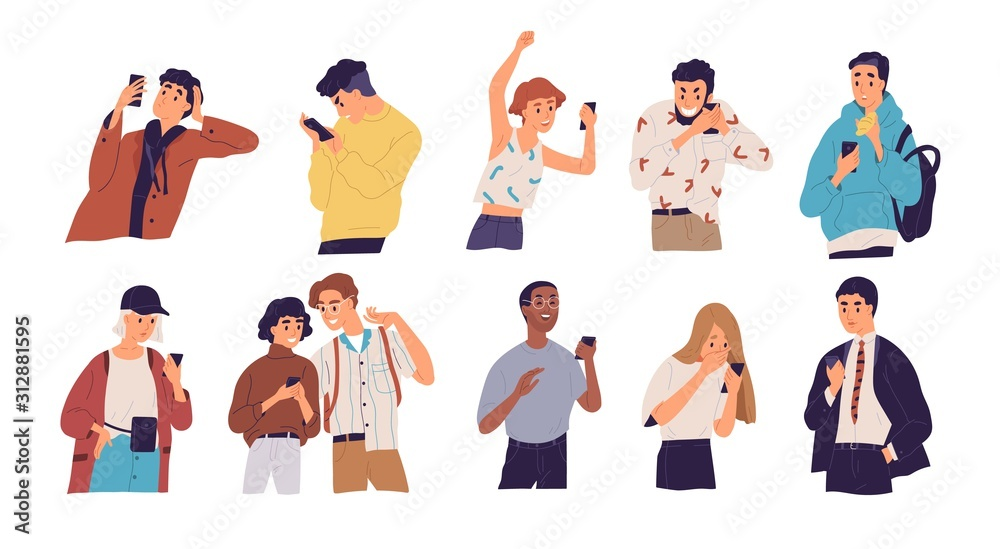 Fototapeta People with smartphones flat vector illustrations set. Different emotions, reaction to information concept. Men and women with mobile phones cartoon characters isolated on white background.
