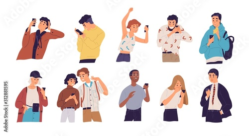 Obraz People with smartphones flat vector illustrations set. Different emotions, reaction to information concept. Men and women with mobile phones cartoon characters isolated on white background. - fototapety do salonu