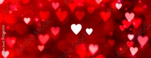 Fotografie, Obraz  Valentinstag - Abstrakter roter Hintergrund Banner - Bokeh in Herzform