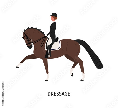 Dressage, horseback riding flat vector illustration. Equestrienne cartoon character. Hoss training, competition preparing concept. Equine and female rider isolated on white background. Wall mural