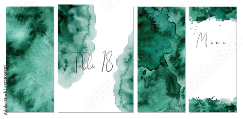 Watercolor green background Hand drawn abstract texture Canvas Print
