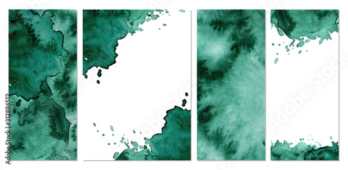 Photo Watercolor green background Hand drawn abstract texture