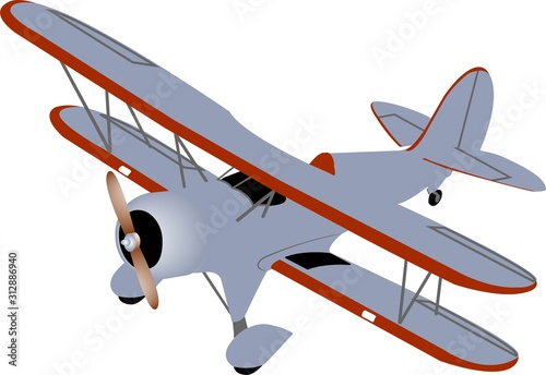 Single plane biplane in gray and red colors with a wooden propeller on a white background Canvas Print