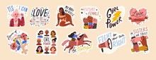 Feminist And Body Positive Vector Stickers Set. Female Movements Cartoon Badges With Inspirational Quotes. Women Empowerment, Self Acceptance And Gender Equality Trendy Letterings Pack.
