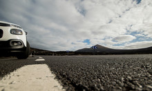 Volcanic Road In Spain With Car