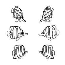 Vector Line Cartoon Animal Cli...