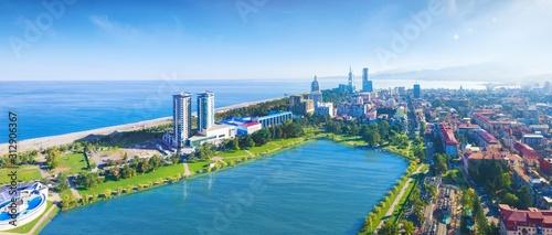 Fototapeta Aerial panoramic image of beautiful Batumi in Georgia made with drone in sunny summer weather. obraz