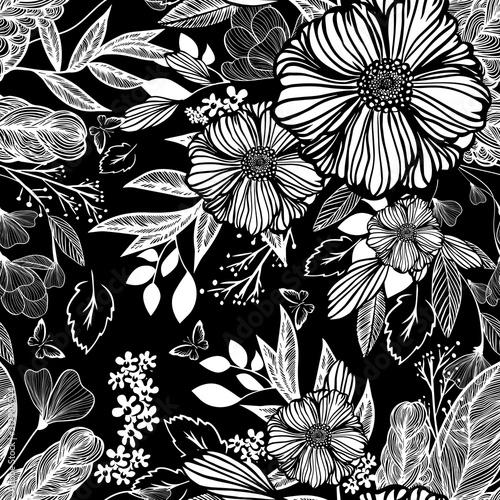 Plakaty czarno białe   the-seamless-background-is-monochrome-flowers-vector-illustration