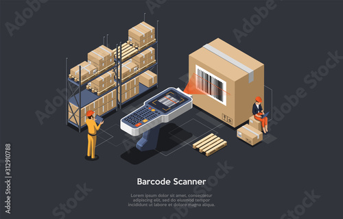 Fotomural Isometric warehouse manager or warehouse worker with big barcode scanner is checking goods