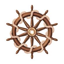 Vector Boat Rope Handwheel, Ship Wheel Helm