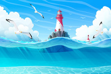 Vector Cartoon Lighthouse Sea ...