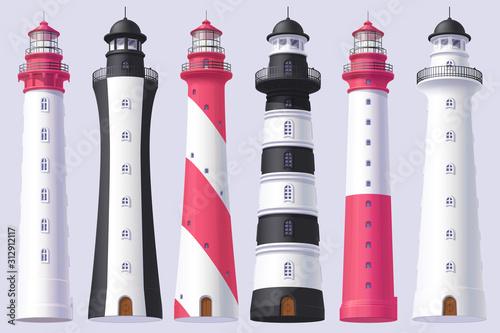 Photo vector Lighthouse, light house, beacon set
