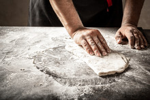 Man Preparing Bread Dough.Bake...