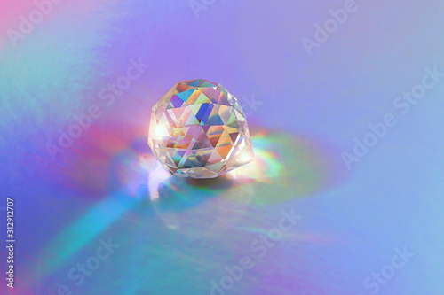 Fototapeta Crystal prism Refracting light in vivid rainbow colors