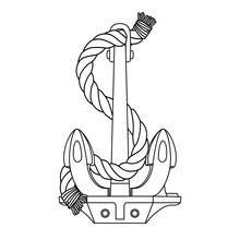 Vector Black White Rope Outline Sea Icon Anchor