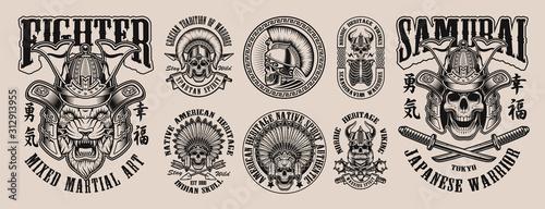 Fototapeta Black and white of vector illustrations with skulls obraz