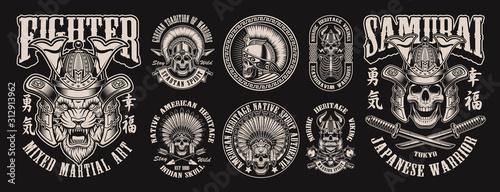 Fototapeta Monochrome of vector illustrations with skulls obraz