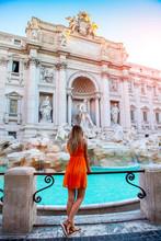 Girl In Orange Dress In Front ...