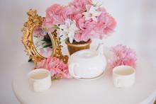 Tea Table, Mugs And A Teapot W...