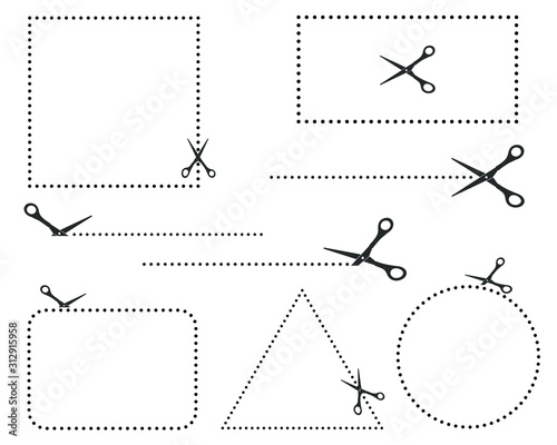 Foto Scissors icon shape with seamless cut line template
