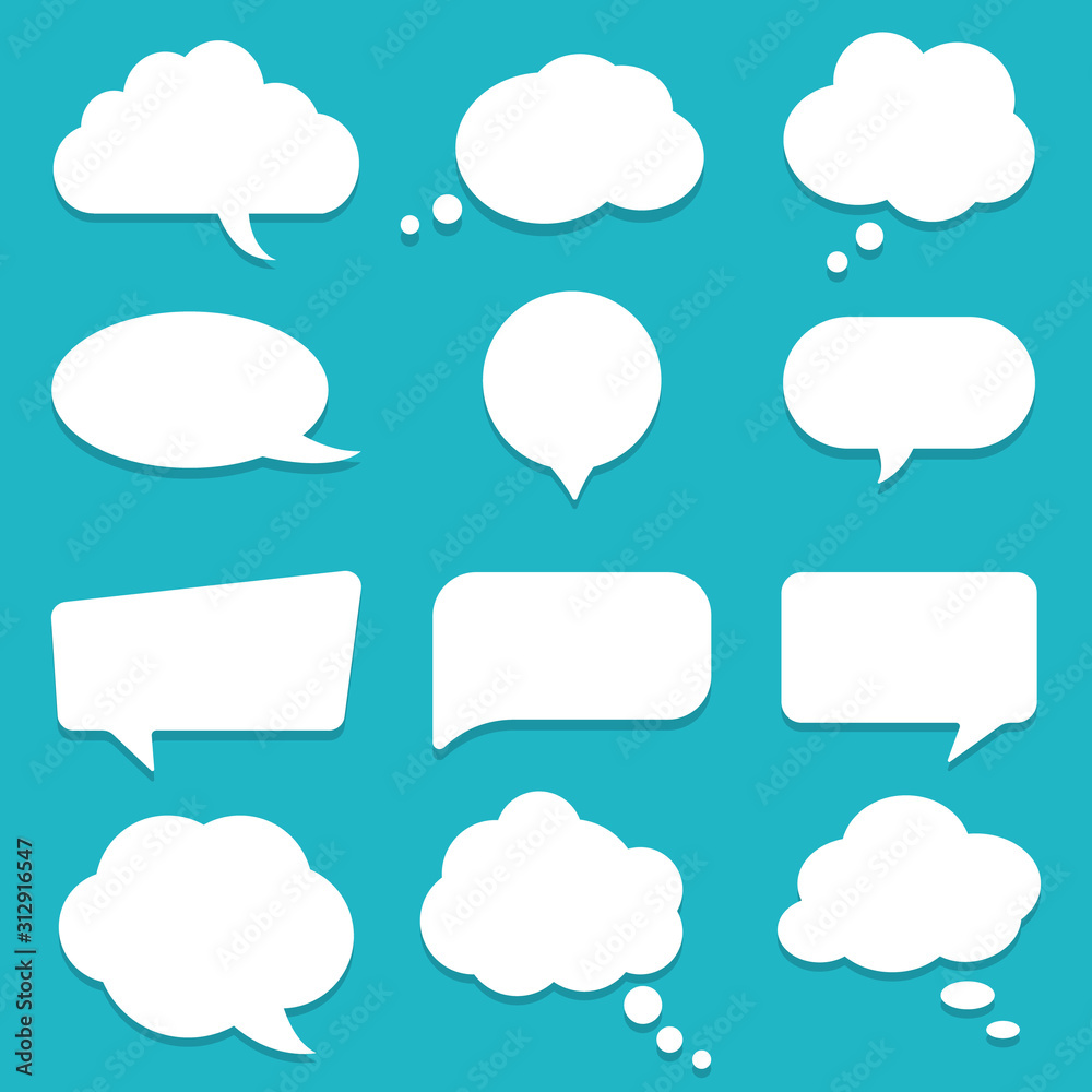 Fototapeta Set of speech bubble, textbox cloud of chat for comment, post, comic. Dialog box icon, message template. Different shape of empty balloons for talk on isolated background. cartoon vector