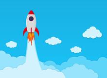 Rocket Launch On Space In Flat...