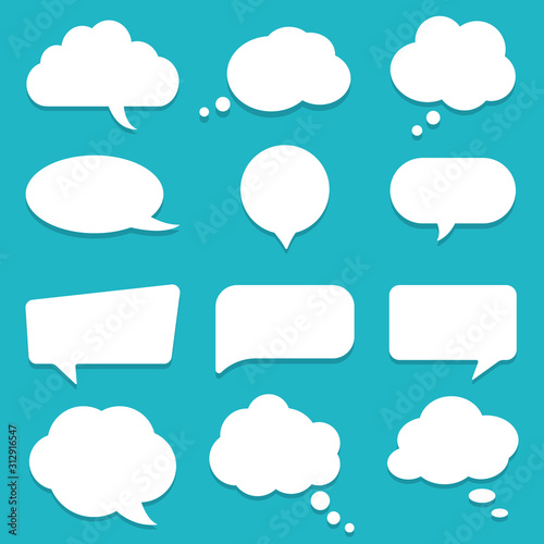 Set of speech bubble, textbox cloud of chat for comment, post, comic Wallpaper Mural