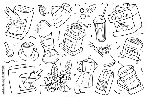 Stampa su Tela Set of coffee outline drawings, utensils, equipment and tools for various kinds of brewing coffee