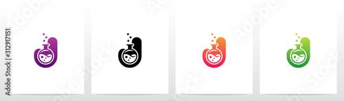 Laboratory Flask On Letter Logo Design J