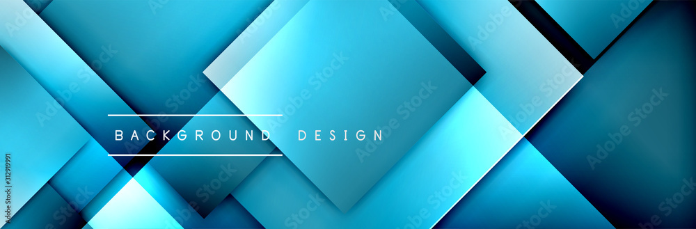 Fototapeta Square shapes composition geometric abstract background. 3D shadow effects and fluid gradients. Modern overlapping forms