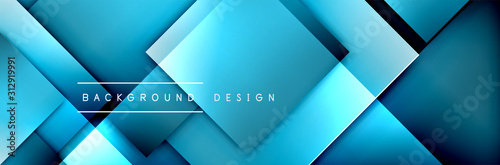 Square shapes composition geometric abstract background. 3D shadow effects and fluid gradients. Modern overlapping forms